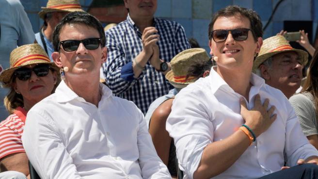 Manuel Valls (izquierda) y Albert Rivera durante un acto de Ciudadanos.