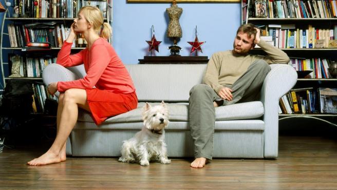 Una pareja con un perro, en una imagen de archivo.