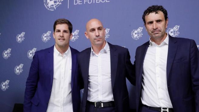 Robert Moreno, Luis Rubiales y José Francisco Molina.
