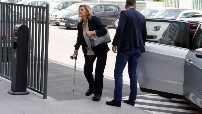 La secretaria general del partido María Dolores de Cospedal a su llegada este jueves a los Juzgados de lo Penal de Madrid.
