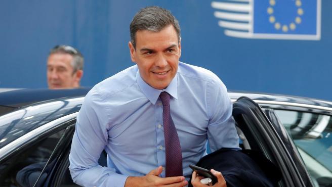 Pedro Sánchez, a su llegada al Consejo Europeo en Bruselas.