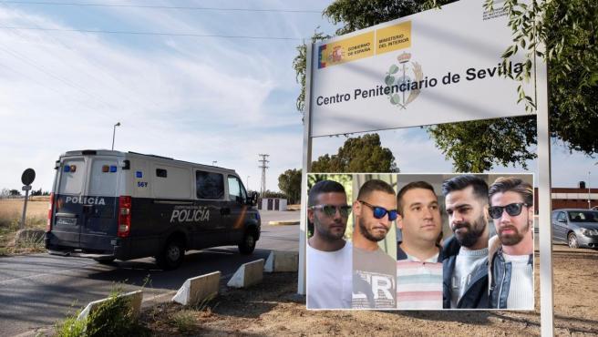 El furgón con La Manada ingresa en prisión.