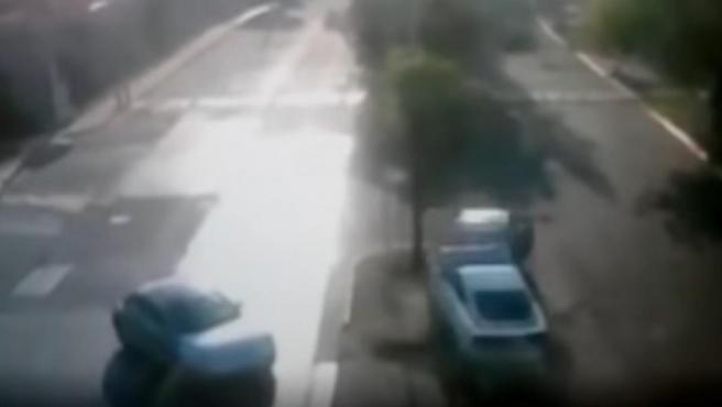 Una imagen del accidente de Joao Maleck.
