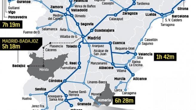 Red Ave España Mapa.El Mapa De Los 3 410 Km De Ave Extremadura Y El Norte De