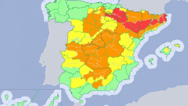 Mapa de alertas de la AEMET por la ola de calor.