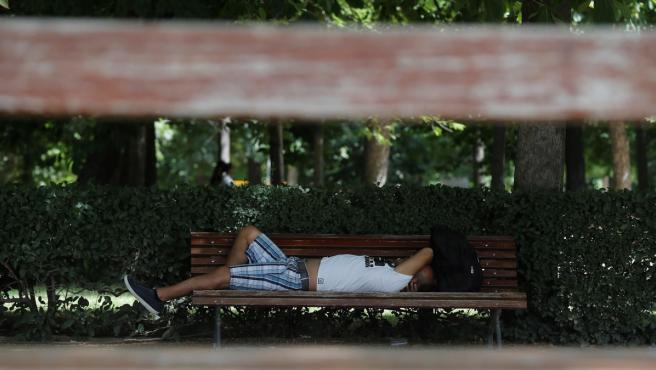 La ola de calor que afecta a gran parte de la península y Baleares no da tregua. En la imagen, un hombre descansa en un banco del parque de El Retiro, en Madrid.