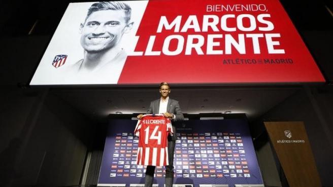 Marcos Llorente, durante su presentación con el Atlético de Madrid.