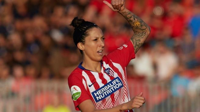Jenni Hermoso, con la camiseta del Atlético de Madrid.