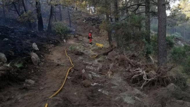 Imagen de los trabajos de extinción de uno de los incendios en Ávila.