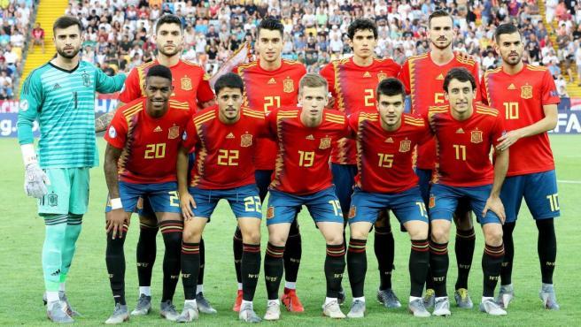 Once de la selección española sub21 para la final de la Eurocopa de la categoría ante Alemania.