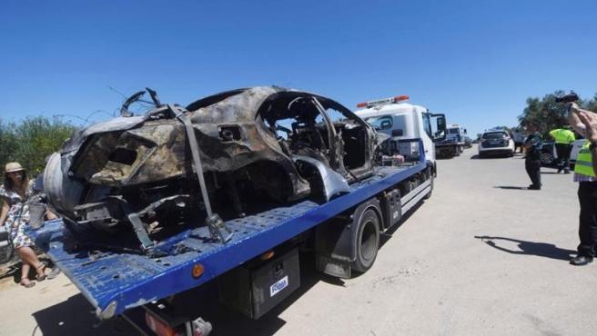 Estado en el que quedó el coche de José Antonio Reyes en el que viajaba con sus primos.