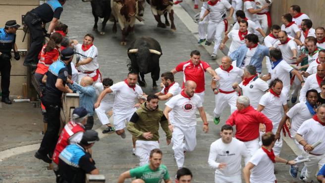Séptimo encierro de San Fermín 2018 de la ganadería Jandilla