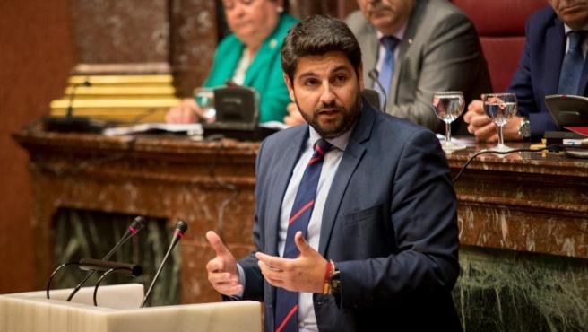 El candidato del PP a presidir la Comunidad Autónoma, Fernando López Miras
