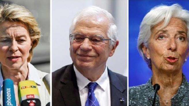 De izda. a dcha., Ursula von der Leyen, Josep Borrell y Christine Lagarde.