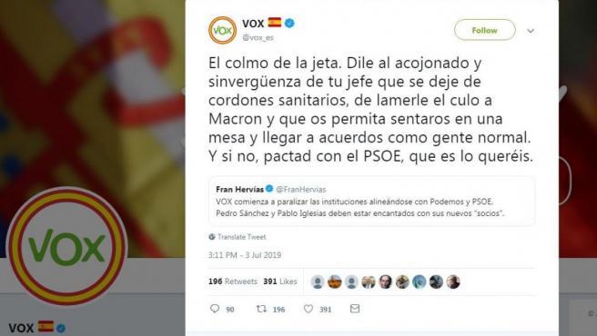 Tuit de Vox sobre Ciudadanos.