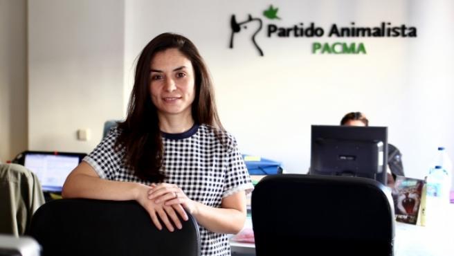 Laura Duarte, candidata a la presidencia del Gobierno por PACMA, en la oficina del partido animalista en Madrid.