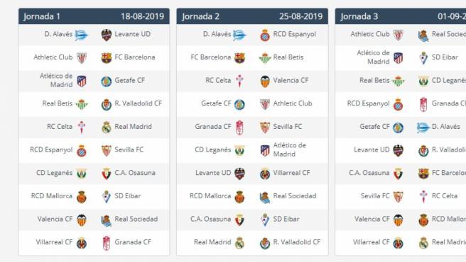 Calendario de LaLiga 2019-2020 en PDF: horarios de partidos ...