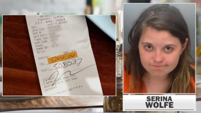 Imagen de la ficha policial de Serina Wolfe.