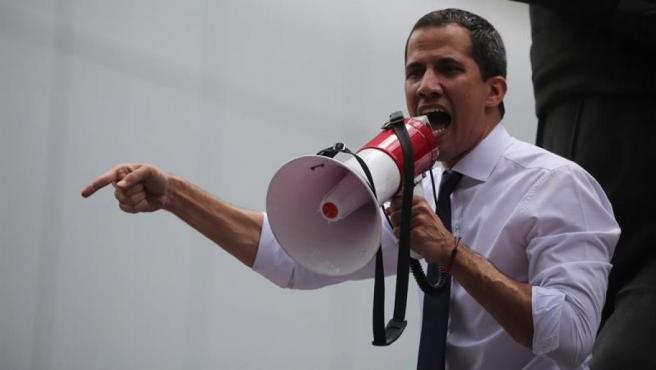 El presidente de la Asamblea Nacional de Venezuela, Juan Guaidó, durante una protesta opositora, en Caracas.