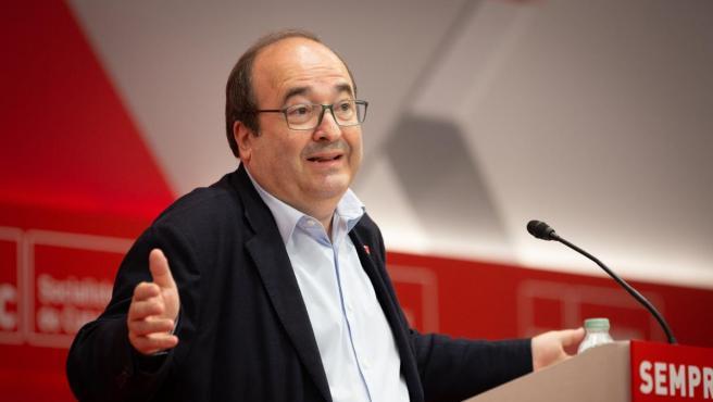 El primer secretario del PSC, Miquel Iceta, interviene ante el Consell Nacional del partido.