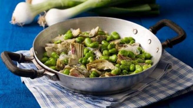Receta con vegetales.