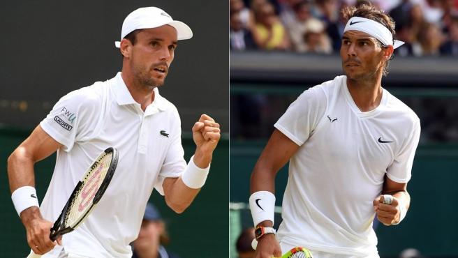 Roberto Bautista y Rafa Nadal, en Wimbledon.