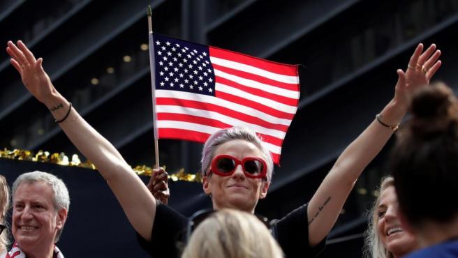 La delantera Megan Rapinoe, durante la celebración llevada a cabo en Nueva York.