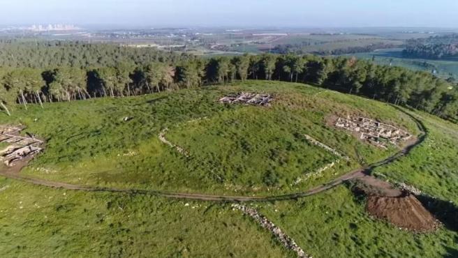 Imagen aérea de la excavación arqueológica de la ciudad bíbliba de Ziklag.