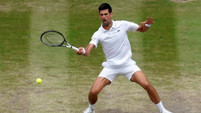 Novak Djokovic, durante la final de Wimbledon 2019 ante Roger Federer.