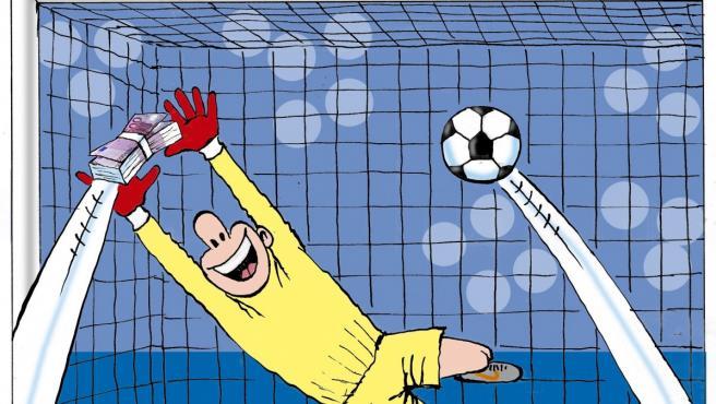 Amaños en el fútbol español, viñeta de Asier.