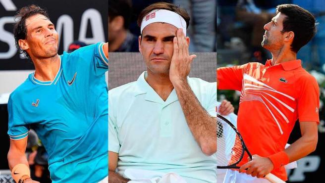 Rafa Nadal, Roger Federer y Novak Djokovic.