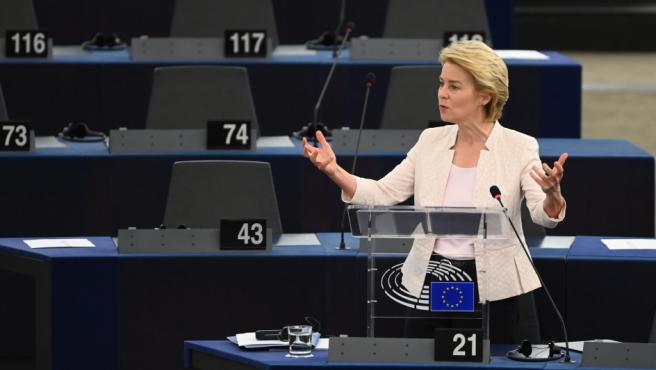 Ursula von der Leyen durante un momento de su discurso ante el Parlamento Europeo en Estrasburgo.