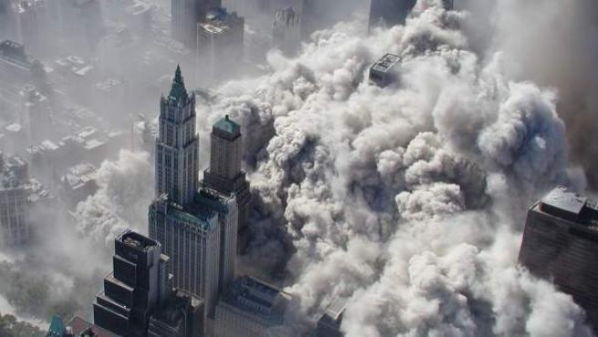 Imagen aérea de Nueva York tras el derrumbamiento de las torres gemelas.