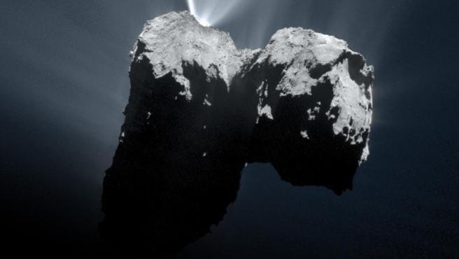 <p>Vista del cometa67P/Churyumov-Gerasimenko lograda por la unión de dos imágenes por parte de la sonda Rosetta en una misión de la Agencia Espacial Europea.</p>