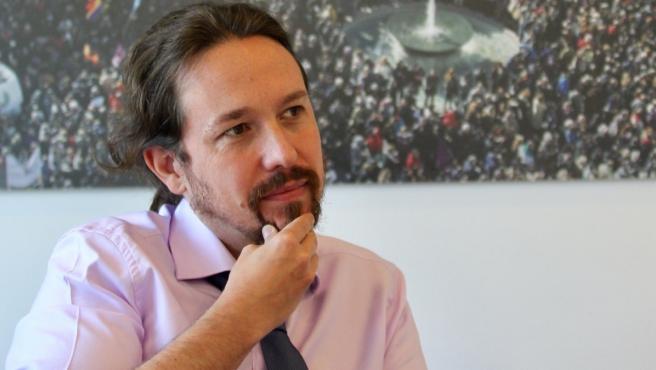 El líder de Podemos en un momento de la entrevista con '20minutos'.