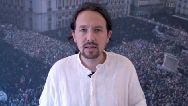 Pablo Iglesias emite un vídeo.