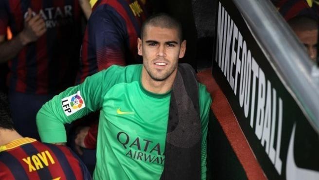 Víctor Valdés en un partido con el FC Barcelona