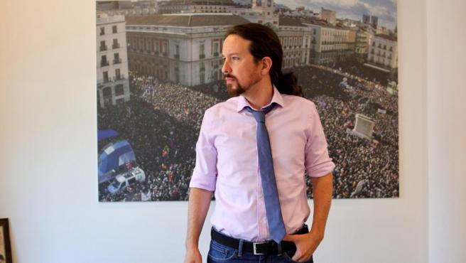 El líder de Podemos, Pablo Iglesias, entrevistado por '20minutos'.