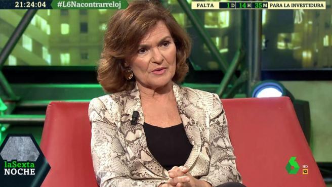 La vicepresidenta del Gobierno en funciones, Carmen Calvo, entrevistada en 'laSexta Noche'.