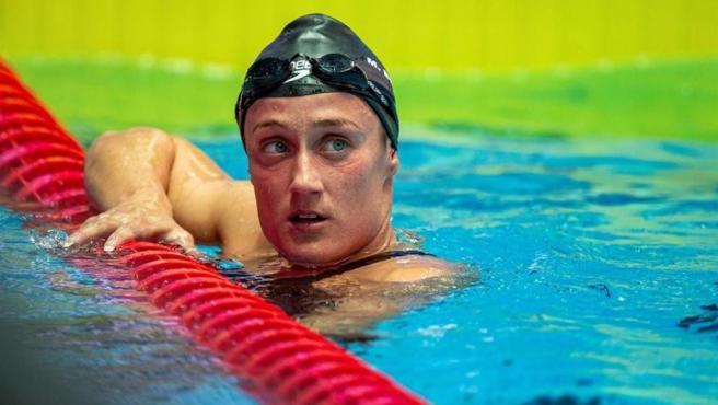 La nadadora española Mireia Belmonte, tras disputar la serie preliminar de los 1.500 metros libres en el mundial de Gwangju (Corea del Sur).
