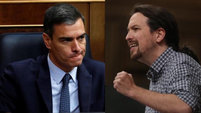 Pedro Sánchez y Pablo Iglesias en distintos momentos del debate y la votación de investidura.