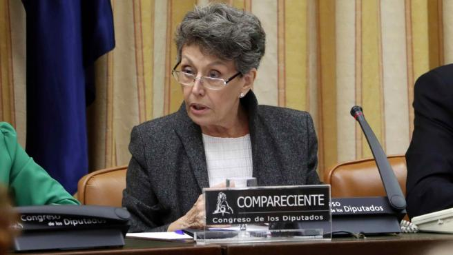La administradora única provisional de RTVE, Rosa María Mateo, durante una comparecencia ante la Comisión Mixta de Control Parlamentario, en el Congreso de los Diputados