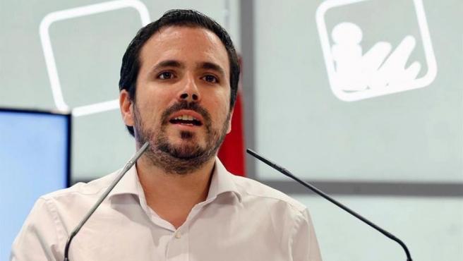 El coordinador federal de Izquierda Unida, Alberto Garzón, en una reunión de la Coordinadora Federal de IU.