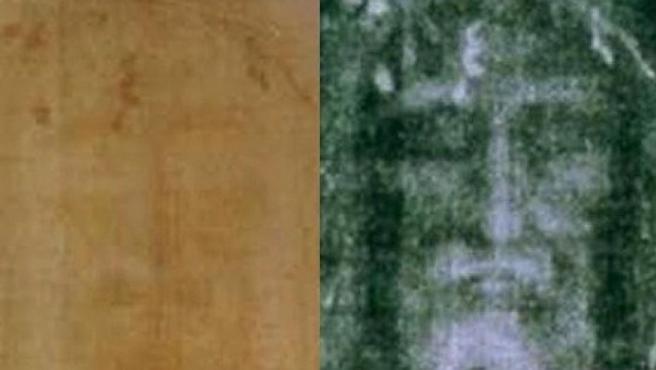 Fotografía de la Sábana Santa de Turín en dos versiones: a la izquierda, en positivo; y a la derecha, en negativo.