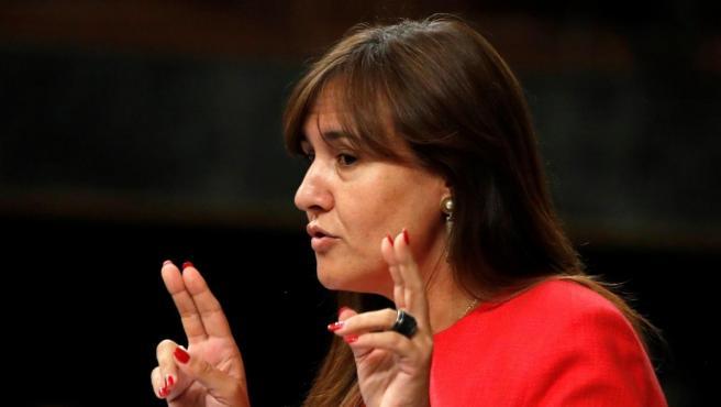 La portavoz de JxCat, Laura Borràs, durante su intervención en la tercera jornada del debate de investidura en el Congreso.