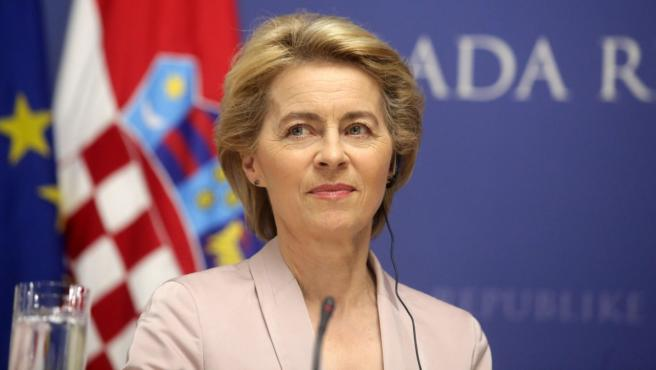Ursula von der Leyen en su visita a Zagreg, este martes.