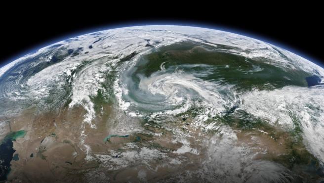 Imagen de satélite en la que se ve el incendio que sufren varias regiones de Rusia.