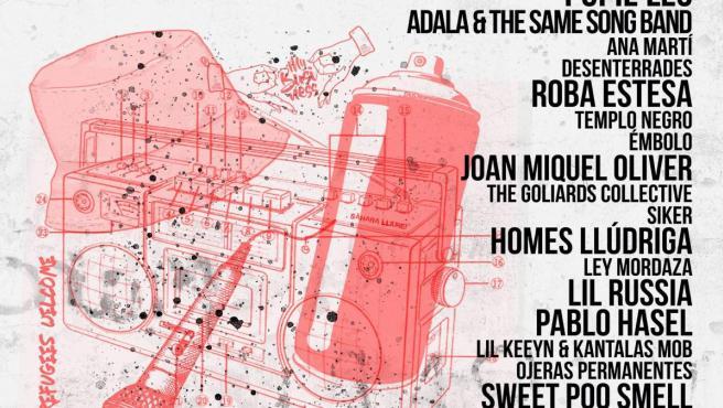 Cartel informativo del Festival MUR por la libertad de expresión.