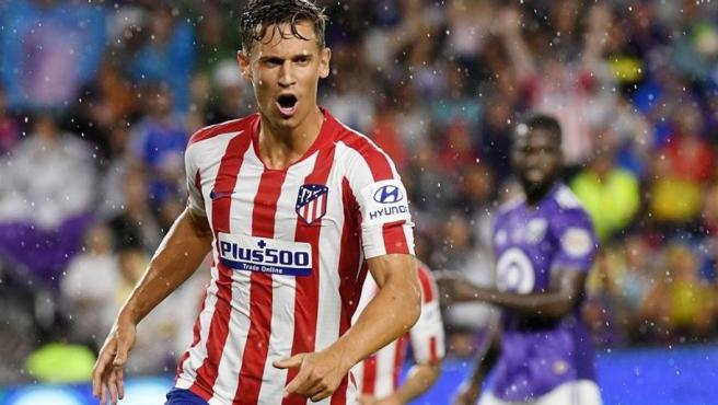 Marcos Llorente, del Atlético de Madrid, tras marcar un gol en el partido frente al All Star de la MLS, en Orlando (EE UU).