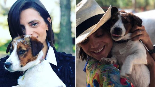 Imagen de la actriz Macarena Gómez y su perra Costra.
